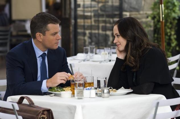 Matt Damon and Emily Blunt playfully flirts in The Adjustment Bureau