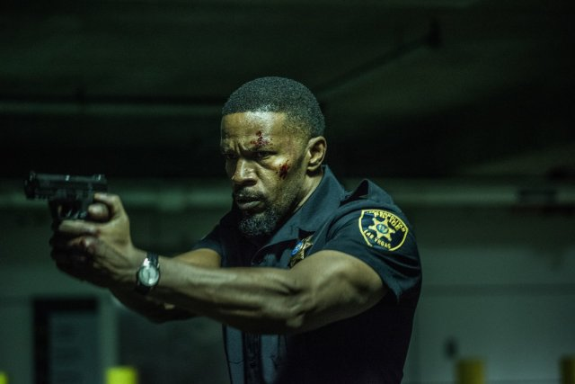 Jamie Fox as a cop in crisis in the action suspense movie Sleepless.